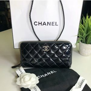 Chanel Authentic 2014 Quilted Leather Zippy Wallet